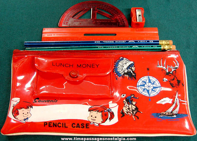 Colorful Old Childrens Souvenir Vinyl School Pencil Case With Contents