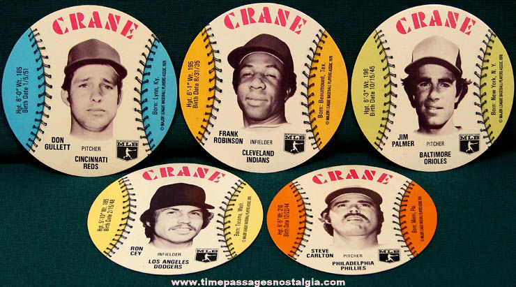 (5) Round ©1976 Crane Potato Chips Advertising Premium Baseball Cards