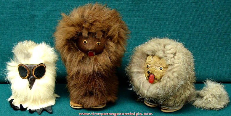 (3) Different Old Furry Polish Wild Animal Figurines