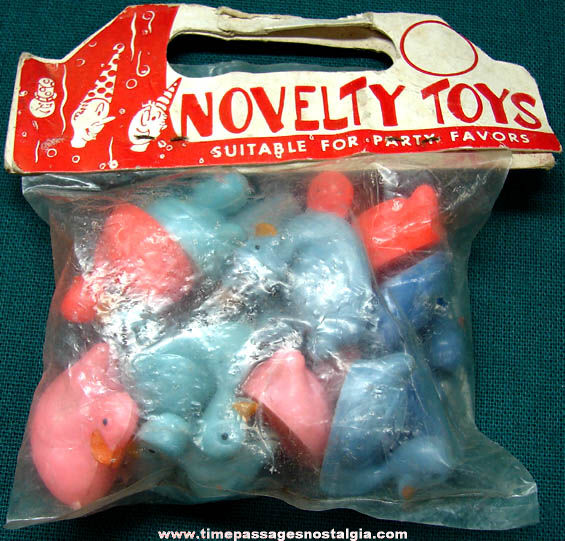 Old Unopened Bag of (14) Novelty Hard Plastic Toy Duck Rattles