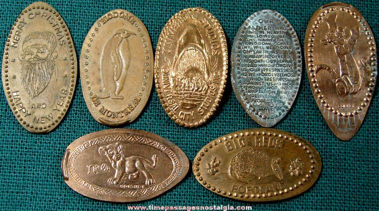 (7) Different Advertising & Souvenir Elongated Cents