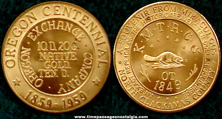 1959 Oregon Centennial Souvenir Beaver Medal Coin