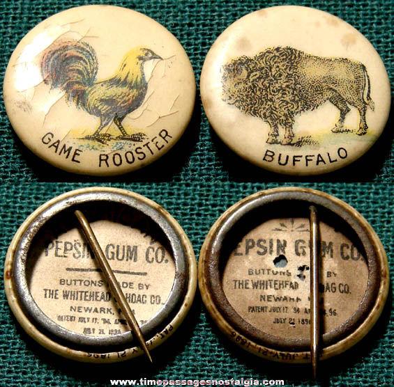 (2) 1896 American Pepsin Gum Advertising Premium Animal Celluloid Pin Back Buttons