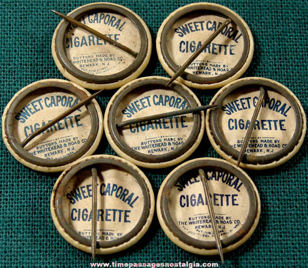 (7) 1896 Sweet Caporal Cigarette Premium State Seal Celluloid Pin Back Buttons