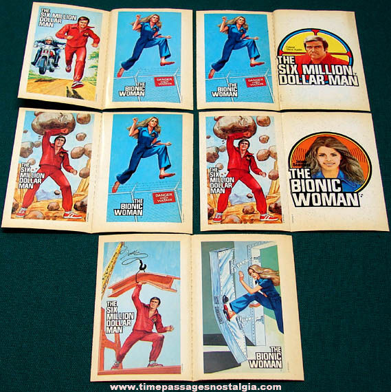 (10) Unused 1970s Six Million Dollar Man & Bionic Woman Trading Card Stickers