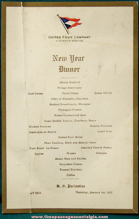 1925 S. S. Parismina New Years Day Dinner Ship Menu Card