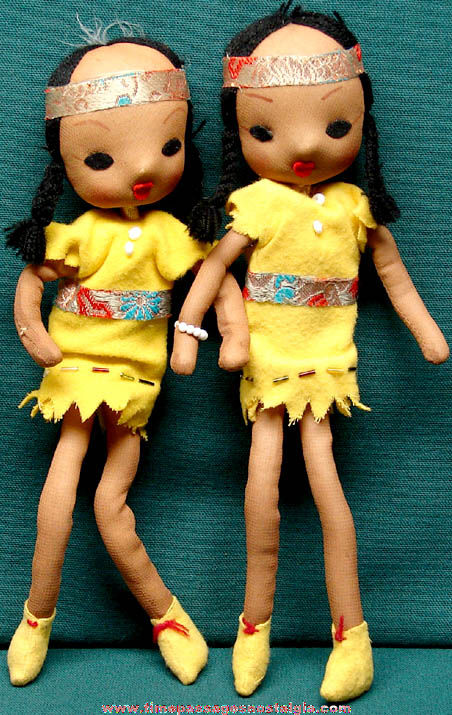 (2) Old Native American Indian Squaw Toy Dolls
