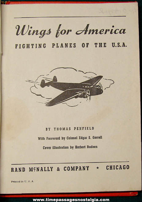 ©1941 Wings For America - Fighting Planes Of The U.S.A. Book