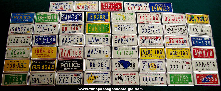 (53) Different Old Miniature Gum Ball Machine Toy Prize State Auto License Plates