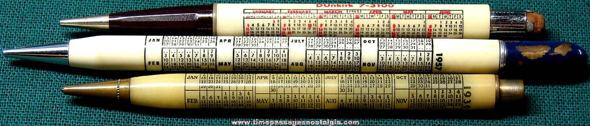 (3) Different Old Advertising Premium Calendar Mechanical Pencils