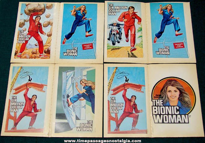 (8) Unused 1970s Six Million Dollar Man & Bionic Woman Trading Card Stickers