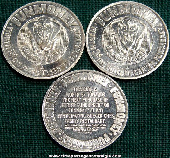 (3) Old Burger Chef Fangburger Advertising Coupon Token Coins