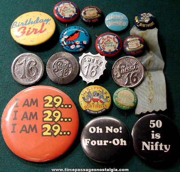 (17) Old Birthday Celebration Pin Back Buttons