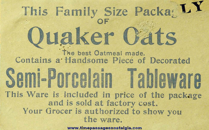Colorful Early Quaker Oats Advertising Cereal Box With Premium Offer