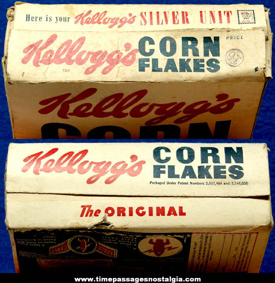 1950s Kellogg's Corn Flakes Cereal Box With Space Cadet & Aircraft Carrier Premium Offers