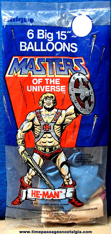 Unopened Package of ©1983 Mattel He-Man Masters of The Universe Balloons
