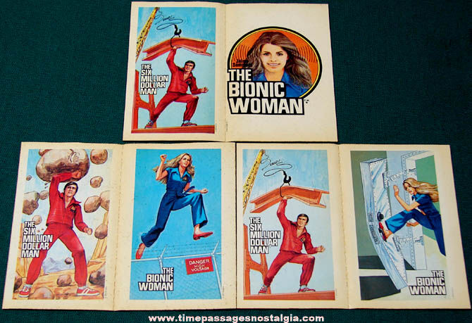 (6) Unused 1970s Six Million Dollar Man & Bionic Woman Trading Card Stickers