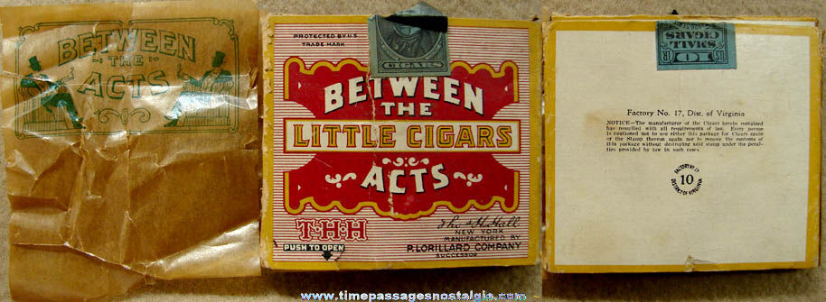Small 1926 Between The Acts Little Cigars Advertising Box