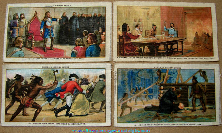 (4) Colorful Old Imprinted Silk or Satin Tobacco Premiums