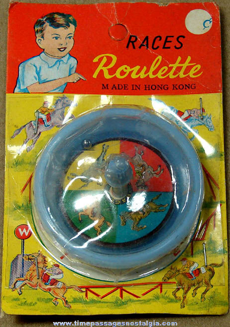 Colorful Old Unopened Horse Race Toy Game Roulette Wheel