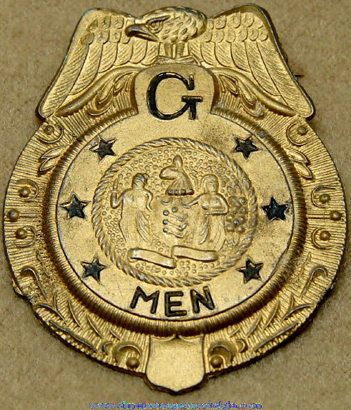 Old Gold Painted Metal G-Men Toy Police Badge