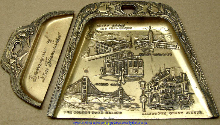 Old Metal San Francisco California Advertising Souvenir Crumb Dust Pan Set