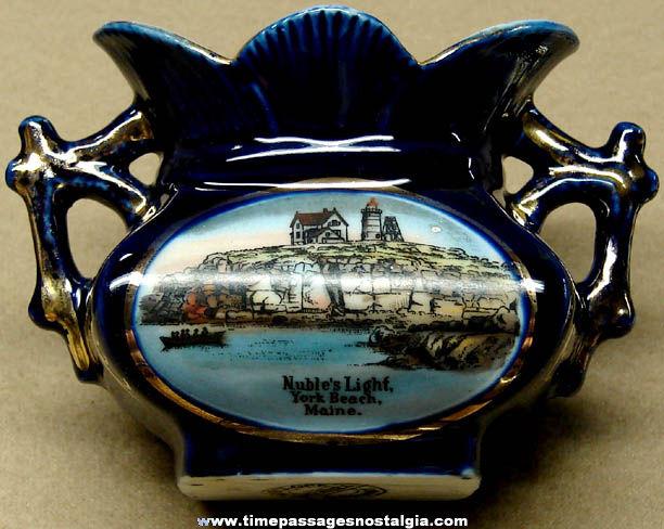 Old Nubble Light House York Beach Maine Advertising Souvenir Dresden Vase
