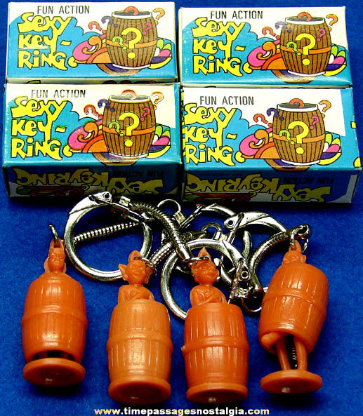 (4) Old Unused Boxed Novelty Joke Risque Figure Key Chains