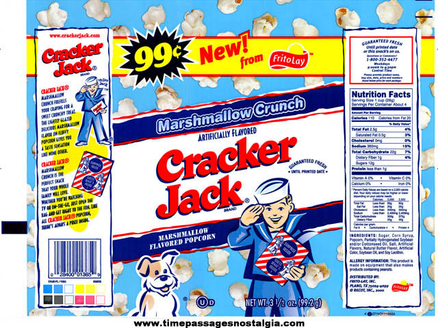 (3) Unused ©2000 Flavored Cracker Jack Bags With Case Bar Code Stickers