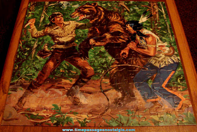 Old Boxed Daniel Boone Television Show Milton Bradley Jigsaw Puzzle