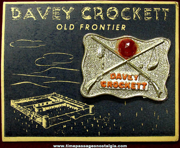 Old Carded & Unused Davy Crockett Character Metal Badge