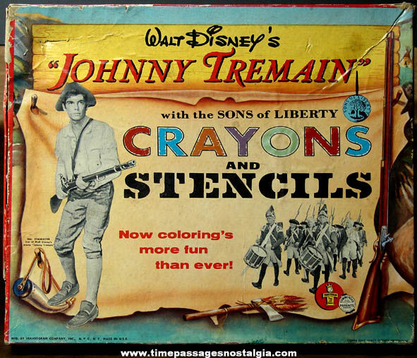 Old Boxed Walt Disney Johnny Tremain Sons of Liberty Coloring Kit