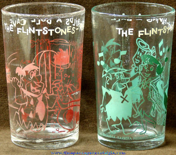 (2) 1960s Hanna Barbera Flintstones Cartoon Character Drink Glasses