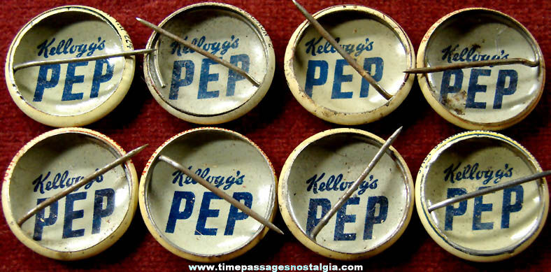 (8) 1943 Kellogg's PEP Cereal Prize United States Military Insignia Pin Back Buttons