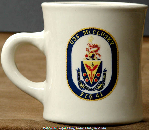 United States Navy U.S.S. McClusky FFG-41 Ship Advertising Coffee Cup