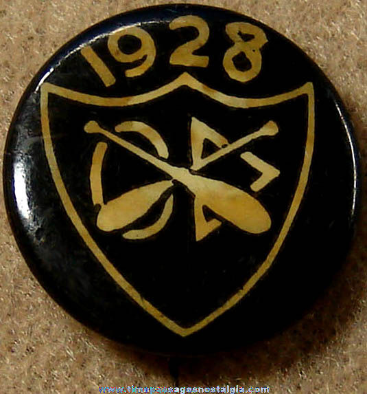 1928 Rowing Sports or School Celluloid Pin Back Button