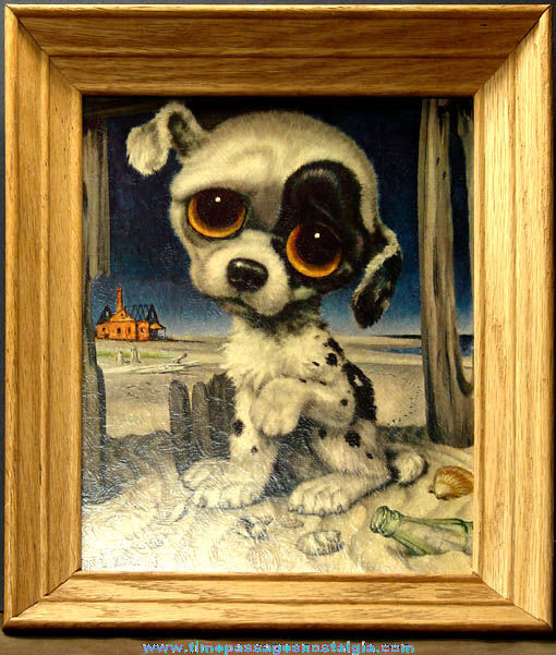 Framed 1960s Big Eyed Pity Puppy Gig Art Print