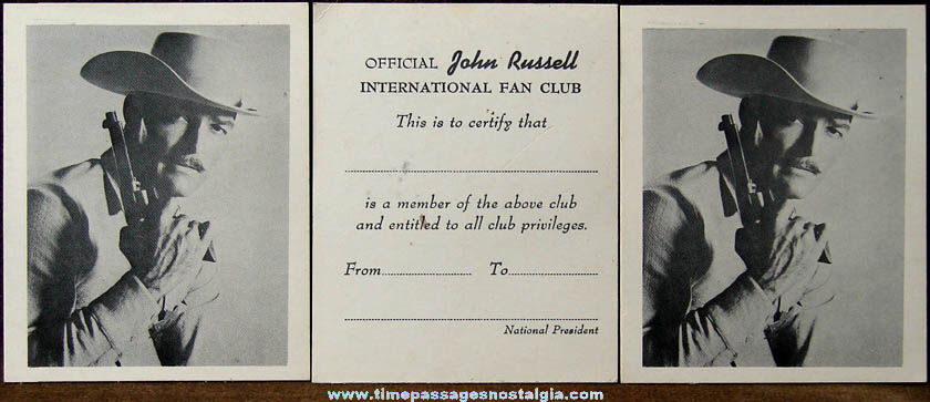 (3) Old Unused Official John Russell International Fan Club Cards