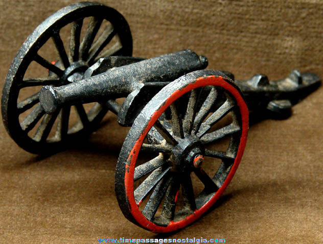 Old Miniature Cast Iron Metal Toy Cannon