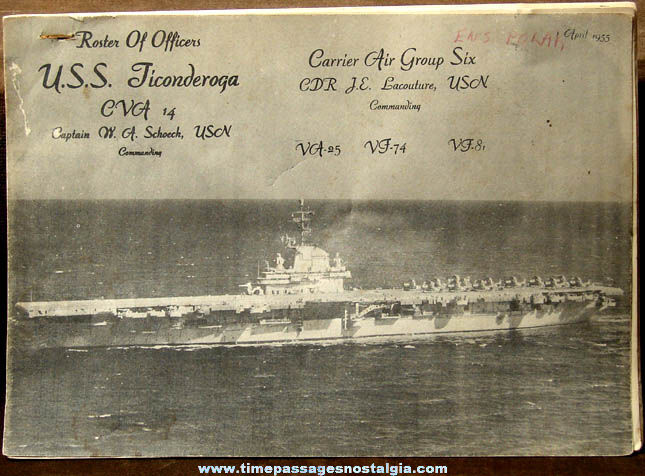 1955 U.S.S. Ticonderoga CVA-14 Roster of Officers Booklet