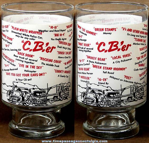 Large Old CB Radio Language Imprinted Drink Glass