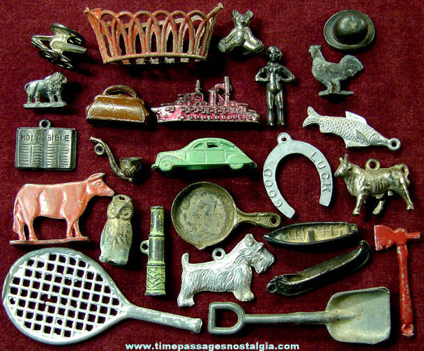 (25) Old Cracker Jack Pot Metal or Lead Miniature Toy Prizes