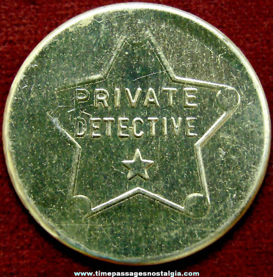 1945 Cracker Jack Pop Corn Confection Private Detective Embossed Tin Novelty Toy Prize Badge