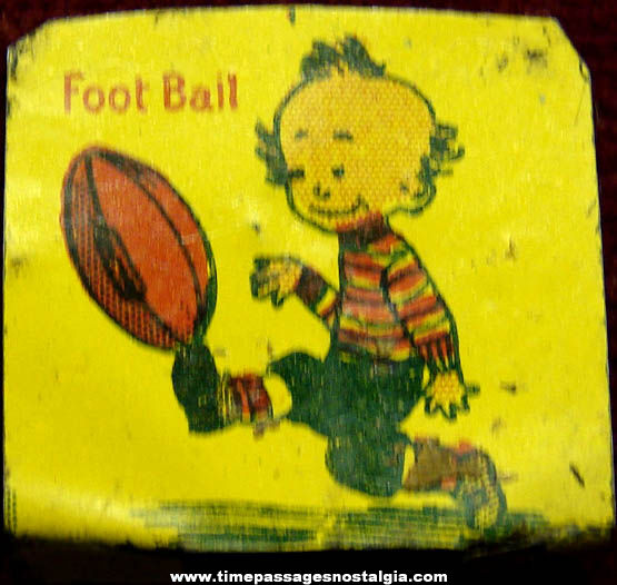 920s Cracker Jack Pop Corn Confection Lithographed Tin Football Player Stand Up Toy Prize