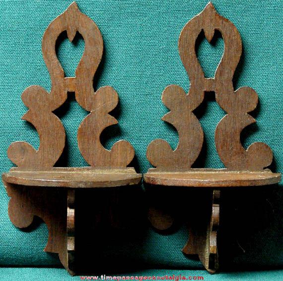 (2) Matching Miniature Wooden Hanging Shelves