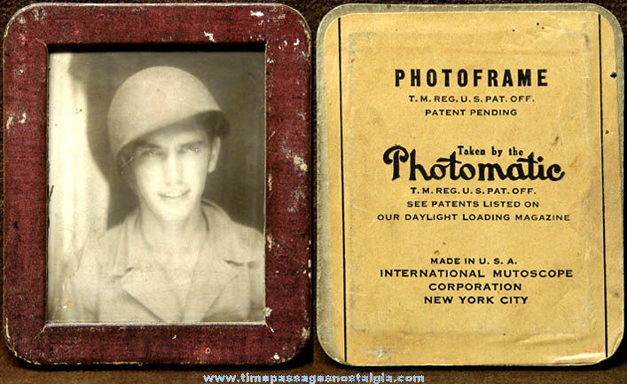 1940s WWII U.S. Army Soldier Souvenir Mutoscope Photomatic Photograph