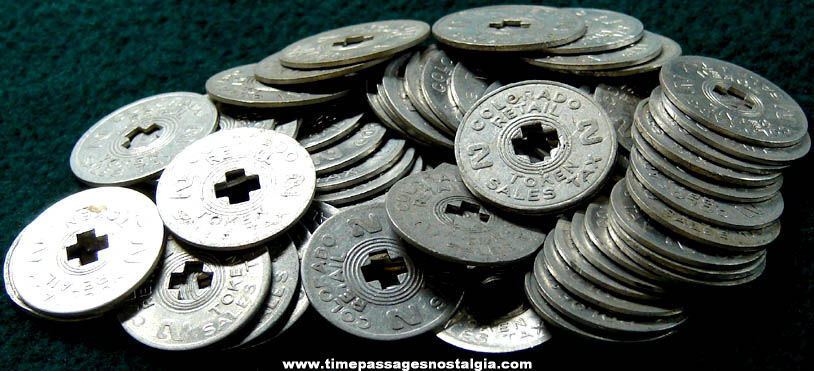 (64) Old Colorado State Sales Tax Token Coins