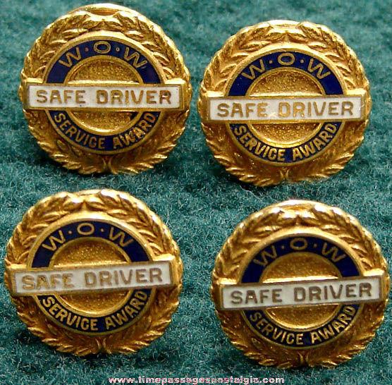 (4) Matching Old Enameled & Gold Filled Safe Driver Service Award Pins