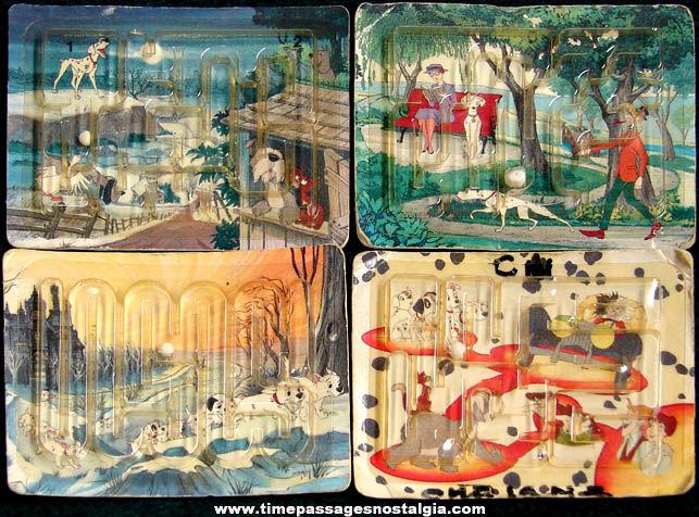 (4) Walt Disney 101 Dalmatians Cheerios Cereal Prize Maze Dexterity Puzzles