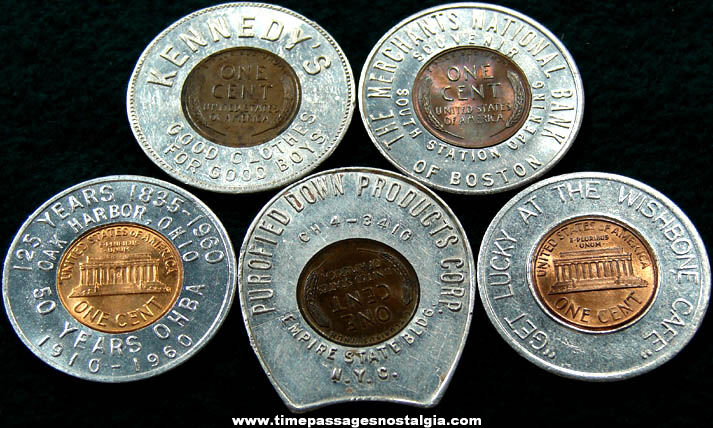 (5) Different Old Advertising Premium Encased Cent Token Charms